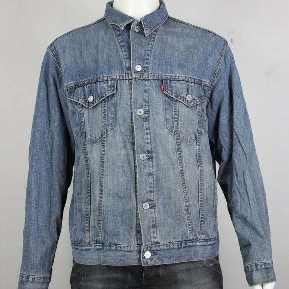 Levis denim jean trucker jacket L blanket lined bl